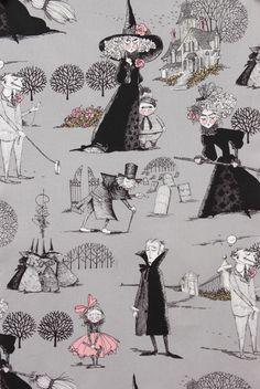 The Ghastlies in Smoke by Alexander Henry - 1 Yard - Gray - Halloween Fabric - Ghastlies - Quilt