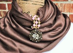 Gold filigree and rhinestone scarf wrap by KConklinJewelry on Etsy