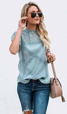 navy blue lace blouse lace shoulder blouse teal round neck summer blouses lace trimmed cotton shirts womens best lace t shirt summer outfits Style Casual, Casual Outfits, Cute Outfits, Fashion Outfits, Womens Fashion, My Fashion, Curvy Fashion, Street Fashion, Fall Fashion