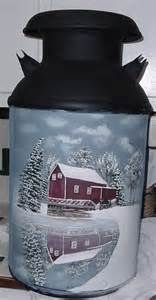 milk can art - Yahoo Image Search Results Painted Milk Cans, Paint Cans, Old Milk Cans, Milk Jugs, Milk Can Decor, Vintage Milk Can, Country Paintings, Bottle Painting, Painting Patterns