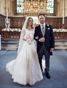 Geri Halliwell wore a bespoke Phillipa Lepley full skirted silk duchesse satin gown with a hand worked French corded lace overlay. #weddingdress #wedding #bespoke #designerweddingdress #bridalgown #luxury #couture #british #britishweddingdressdesigner #londonbride #coutureweddingdress #englishweddingdressdesigner #silk #lace #embroidery #veil