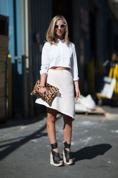 NYFW Street Style Off White on White New York Fashion Week Crop Cropped White Button Up Shirt Of White Ivory Asymmetrical Leather Skirt Leop...