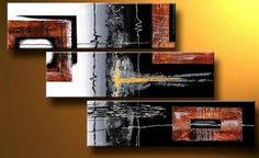 Black Wall Art, Bedroom Wall Art, Canvas Painting, Abstract Art, Acrylic Art, 3 Piece Wall Art