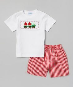 Look at this #zulilyfind! Red Watermelon Tee & Gingham Shorts - Infant, Toddler & Boys #zulilyfinds