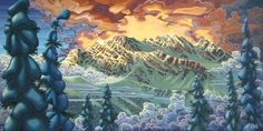 Chili Thom-Swiss Peaks -- Local Whistler artist with Amazing talent! Amazing Paintings, Sunset Paintings, Caribbean Art, Funky Art, Canadian Art, Fantasy Artwork, Whimsical Art, Tree Art, Fractal Art