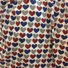 1ccaac5f394 Patriotic Red, Blue, Silver Faux Glitter Hearts European Oeko-tex Certified Cotton  Spandex Knit Jersey Fabric