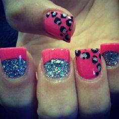 Hot Pink & Metallic GLITTER French Tip Nails w/ Hot Pink base coat Black N Silver Cheetah Print Boarder Accented Nail