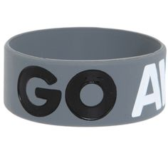 Go Away Rubber Bracelet Rubber Bracelets, Jewelry Bracelets, Bangles, Hot Topic, Dog Bowls, Jewelry Stores, Phone Cases, My Style, Grey