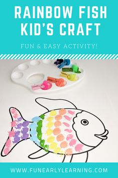 Rainbow Fish Book Crafts for Kids. Great book companion activity and easy craft … – - Fisch Krafts Ideen Easy Crafts For Kids, Craft Activities For Kids, Toddler Crafts, Preschool Crafts, Preschool Kindergarten, Toddler Preschool, Sensory Activities, Preschool Books, Teaching Activities