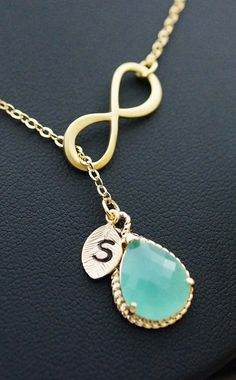 Infinity and mint glass lariat necklace