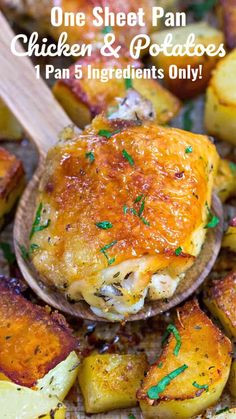 Chicken and Potatoes is a very easy, one sheet pan dinner made with just 5 ingredients. The Ranch seasoning adds flavor to the crispy chicken and potatoes. #sheetpandinner #onepandinner #chickenrecipes #chickendinner #chickenandpotatoes #sweetandsavorymeals #easyrecipe