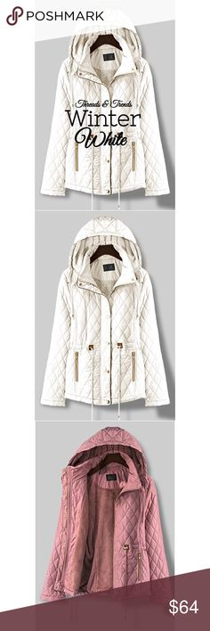 🆕🌸 Winter White Quilted Jacket Classy winter white quilted hooded jacket. Warm and fully lined. Draw string waist, zipper pockets and gold tone hardware. Suede binding edges. True to size. Only available in Black or white  Sreach words: quilted, Utility, shearling, Coat Threads & Trends Jackets & Coats Utility Jackets
