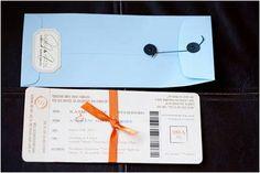 DIY Travel Themed Wedding Invitations ~ like boarding passes!