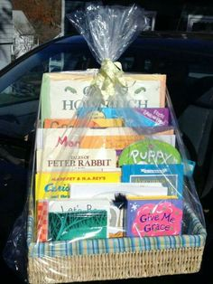 Baby shower gift - book gift basket