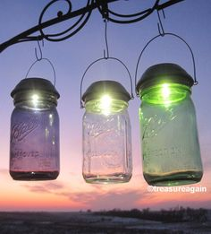 Choice Mason Jar Solar Light New Purple, Green, or Clear Ball Jars http://etsy.me/1wdaDvV with the 4X's Brighter Original Mason Jar Solar Lid by treasureagain