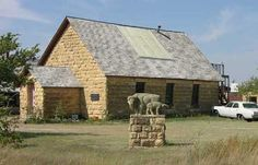 """Located on the southern portion of the Western Vistas Historic Byway, Keystone Gallery overlooks the Smoky Hill River valley with a scenic view of Monument Rocks and fossil outcroppings of the """"Badlands of Kansas"""" region.  The native limestone building was a church from 1917 until 1953, then sat abandoned until 1991.  Although only off of the highway a few yards, Keystone Gallery is off the grid, generating its own electricity.    Inside enjoy the Kansas fossil museum and artwork by Chuck…"""