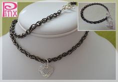 'Two Hearts Matching Set by Pinx Jewelry' is going up for auction at 12pm Wed, Jun 20 with a starting bid of $20.