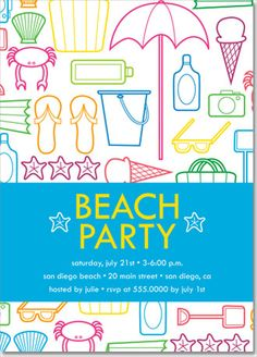 beach party invitation - Google Search