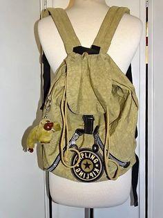 Kipling Drawstring Backpack Back to School Tan Pockets Monkey  #Kipling #MessengerShoulderBag