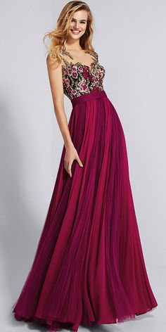 8e5086f7b2ea  125.29  Chic Chiffon Bateau Neckline A-line Prom Dress With Lace Appliques