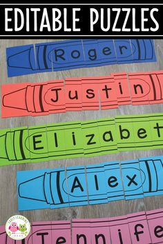 These Editable Crayon Puzzles are great to type in ANY words you want your early childhood students to learn - sight words, their names, color words, numbers words, and more. Click through to see how you can make these a part of your literacy centers with Kindergarten Names, Preschool Names, Preschool Centers, Preschool Learning, Kindergarten Activities, Early Learning, Free Preschool, Writing Center Preschool, Preschool Education