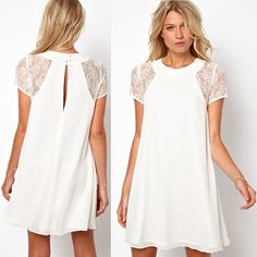 2014 spring summer new women clothing lace short sleeve white back chiffon sexy casual dress Plus size XXL