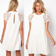 2014 printemps, d'été de nouveaux vêtements pour femmes à manches courtes en dentelle dos blanc en mousseline de soie robe de taille plus sexy décontracté xxl,