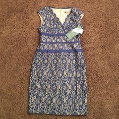 SIMPLY LILIANA dress SIMPLY LILIANA dress. Gorgeous blue lace, nude color underneath, sheath dress. Back zip. Sleeveless. NWT Simply Liliana Dresses