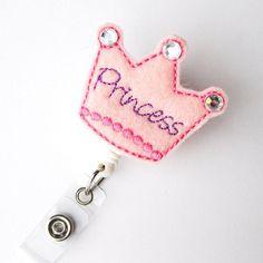 Crown Princess - Name Badge Holder - Cute Badge Reels - Unique Retractable ID Badge Holder - Felt Badge Reel - RN Badge - BadgeBlooms via Etsy Id Badge Holders, Badge Reel, Retractable Id Badge Holder, Name Badges, Lanyards, Felt Art, Diy Stuff, Capes, Aprons