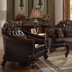 Acme Furniture - Vendome II Chair with 1 Pillows, Dark Brown PU & Cherry - 53132 Brown And Cream Living Room, Brown Couch Living Room, Living Room Chairs, Living Room Decor, Living Rooms, Oak Furniture Land, Acme Furniture, Furniture Styles, Furniture Design