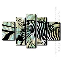 Hand Painted Oil Painting Animal - Set of 5 1211-AN0033