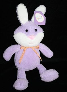 """New with paper tag Sweet Sprouts by Animal Adventure Easter Bunny. Soft Lavender Purple and White Stuffed Bunny Rabbit wearing an Orange Gingham neck Bow. This Plush is about 13"""" soft toy #AnimalAdventure #Easter #SweetSprouts"""