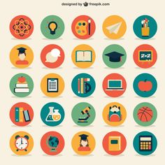 A collection of free school vectors from around the web. Jump in for student and teacher cartoon characters, icons, patterns, timetables and more vectors. Icon Design, Flat Design Icons, Flat Icons, Teacher Cartoon, Illustration Example, School Icon, Education Icon, Affinity Designer, Icon Collection