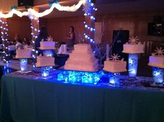 Beautiful wedding cake display for a winter wedding.