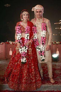 It's definitely been a year of celebrity weddings! Gautam Rode & Pankhuri Awasthy finally decided to take the plunge Designer Bridal Lehenga, Indian Bridal Lehenga, Indian Bridal Outfits, Indian Bridal Wear, Indian Designer Outfits, Bridal Dresses, Red Lehenga, Lehenga Blouse, Indian Dresses