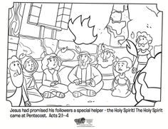 Kids coloring page from What's in the Bible? showing the Holy Spirit coming upon the believers in Jerusalem during Pentecost from Acts 2:1-4. Volume 11: Spreading the Good News!
