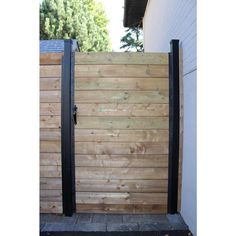 Now you can build your own custom gate right on site with the Sipfence Gate Kit. Comes with 6 corner brackes, 2 self closing Hinges, a Thumb Latch and Rubber Straps to emulate the look of the Slipfence Patio Fence, Front Yard Fence, Backyard Landscaping, Backyard Ideas, Metal Garden Gates, Wooden Garden, Aluminum Fence Gate, Redwood Fence, Whiskey Barrel Furniture