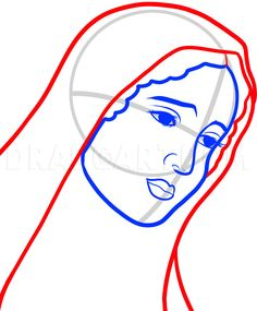 How To Draw Mary, Virgin Mary, Step by Step, Drawing Guide, by Dawn Virgin Mary Painting, Virgin Mary Art, Blessed Virgin Mary, Mother Of Christ, Blessed Mother, Mother Mary, Cute Canvas Paintings, Diy Canvas Art, Abstract Paintings