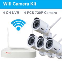4CH HDMI NVR 4PCS 720P HD 1.0 MP IR  Night Vision Outdoor Waterproof IP66 P2P Wireless Wifi IP CCTV Camera Security Camera Kit