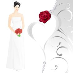 Vector wedding, Wedding, Beauty, Wedding Dress PNG and Vector Red Rose Wedding, Wedding Beauty, Dress Png, Vintage Wedding Cards, Vector Flowers, Heart Wallpaper, Wedding Images, Wedding Couples, Beautiful Bride