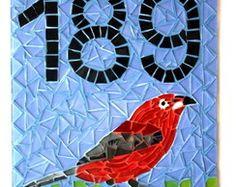 Número para Casa em mosaico Pássaro