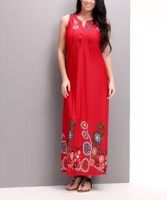 Look at this #zulilyfind! Red Garden Button-Front Maxi Dress - Plus by Reborn Collection #zulilyfinds