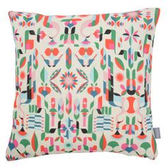 Heal's 1810 Cushion in Peacock Flower by Malika Favre Print is available exclusively at Heal's, and is the first fabrics collection by Heal's since 70's. #healsfabrics