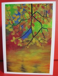 Handmade Card Any Occasion - Photo of original painting of Autumn leaves and water