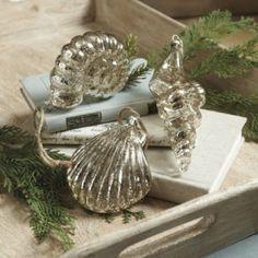 Set of 3 Glass Seashell Ornaments | Ballard Designs