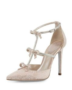 Rene Caovilla Crystal Bow Embellished T Strap High Heels