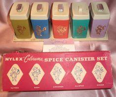Estate ~ Boxed Retro Spice Canister Jar Set & Rack Holder ~ Vintage Nylex