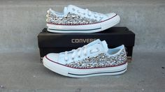 Custom Studded Converse Shoes Swarvoski & Spikes by CustomStudded, $200.00