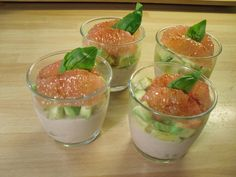 "Tuna mousse, avocado, basil, grapefruit  in ""verrine"""