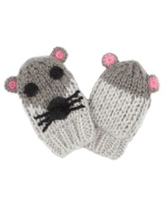 Baby Chunky Mouse Mittens   Grey   Monsoon